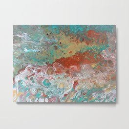 Copper Turquoise Dirty Pour Metal Print