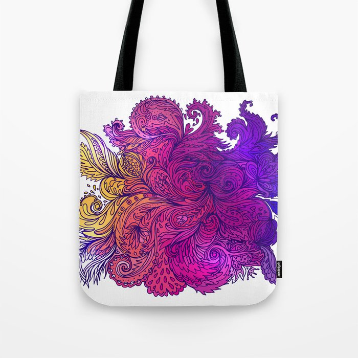 Purple Floral Indian Pattern Tote Bag
