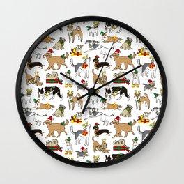 Christmas Dogs Wall Clock