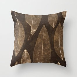 Botanical Pattern 2 (brown) Throw Pillow