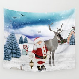 Christmas, Santa Claus with reindeer Wall Tapestry