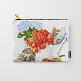 Fresh spring flowers and garden tools Carry-All Pouch