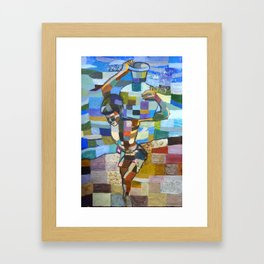 Child carrying water by the river Framed Art Print