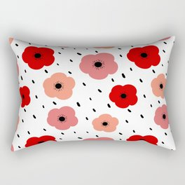 cute colorful pattern background with poppies Rectangular Pillow