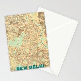 New Delhi Map Retro Stationery Cards