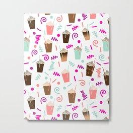 Coffee party retro swirl zig zag symbols 80s rad neon hot pink iced coffees latte milkshake food Metal Print