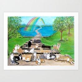 Rainbow Bridge Cats and dogs Art Print