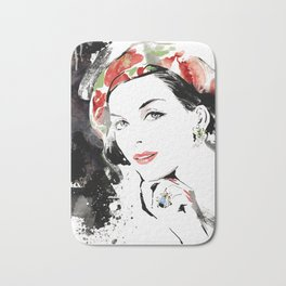 Classical Beauty, Fashion Painting, Fashion IIlustration, Vogue Portrait, Black and White, #12 Bath Mat
