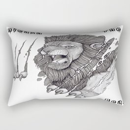 The Lion's Rage Rectangular Pillow