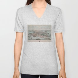 Vintage Pictorial Map of Annapolis MD (1864) Unisex V-Neck