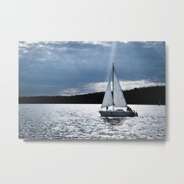 Blue moon light night sailing Metal Print