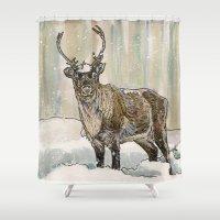reindeer Shower Curtains featuring Reindeer by Meredith Mackworth-Praed