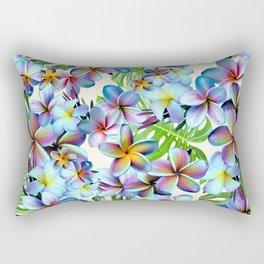 Rainbow Plumeria Pattern Rectangular Pillow