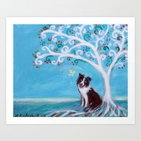 Border Collie & Tree of Life Art Print