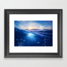 Ocean - Sunlight - Waves - Blues - Beach - Framed Art Print