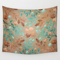 copper Wall Tapestries featuring Copper Autumn by Lisa Argyropoulos