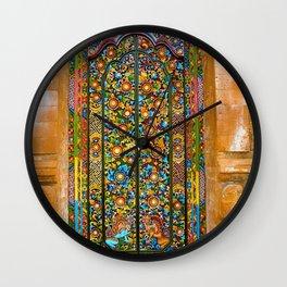 Colorful Asian Motif Style Doorway Photograph Wall Clock