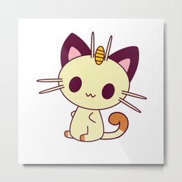 Kawaii Chibi Cat Meowth Metal Print