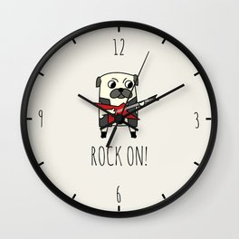 Rockstar Pug Wall Clock