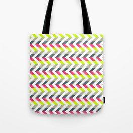 Neon Strawberry - Chevron Geometric Pattern Tote Bag