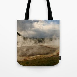 A Cloud Of Steam And Water Over A Geyser Tote Bag