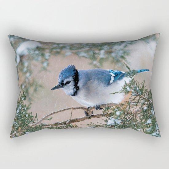 Hunkered Down (American Blue Jay) Rectangular Pillow