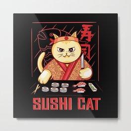 Sushi Cat Japan Metal Print
