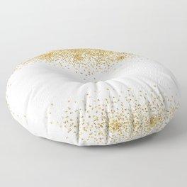 Sparkling golden glitter confetti effect Floor Pillow