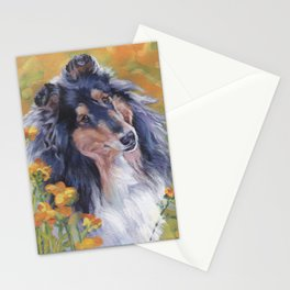 Rough Collie dog art portrait from an original painting by L.A.Shepard Stationery Cards
