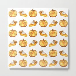 Pumpkin Pie Pattern Fall Watercolor Metal Print