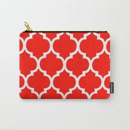 MOROCCAN RED AND WHITE PATTERN Carry-All Pouch