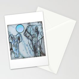 Elephants in blue Stationery Cards