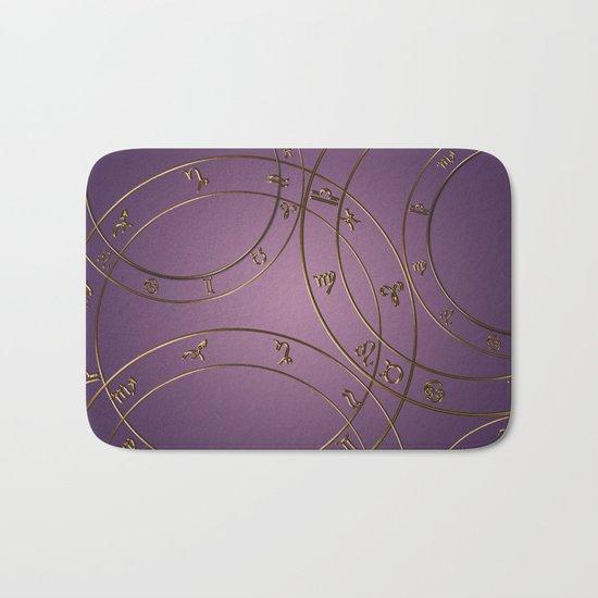 Zodiac signs and circles pink Bath Mat
