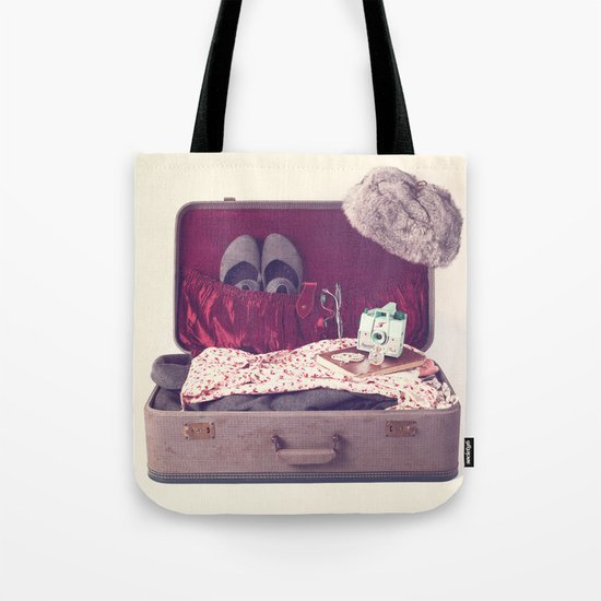 Vintage Journey Suitcase (Hers) (Retro and Vintage Still Life Photography)  Tote Bag