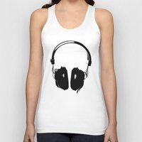 headphones Tank Tops featuring HEADPHONES by by INK! - Sandie Dolleris Thomsen