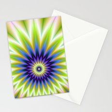 Green and Blue Floral Explosion Stationery Cards