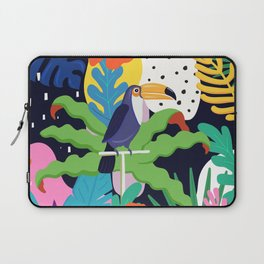 Bold Tropical Jungle Abstraction With Toucan Memphis Style Laptop Sleeve