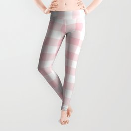 Large Valentine Soft Blush Pink and White Buffalo Check Plaid Leggings
