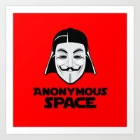 anonymous Art Prints featuring Anonymous by Tony Vazquez