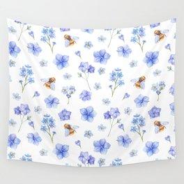 Elegant lavender brown watercolor honey bee floral Wall Tapestry