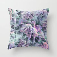 succulents Throw Pillows featuring Succulents by Klara Acel