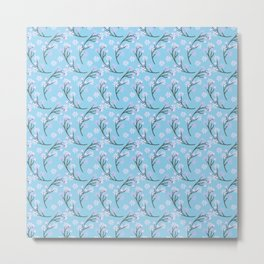 Abstract pastel pink blue gray white floral Metal Print