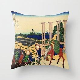 Katsushika Hokusai's Senju, Musashi But Throw Pillow