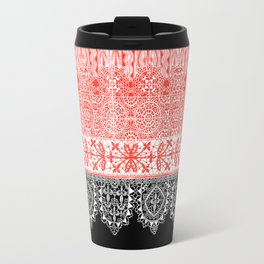 crochet lace in red Travel Mug