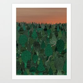 Two dinosaurs looking for each other in a forest... Art Print