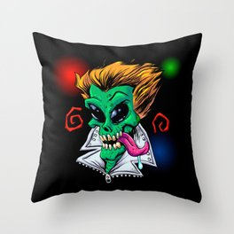 Green Alien zombie in the party. Throw Pillow