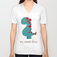 dino V-neck T-shirts featuring Dino by Jane Mathieu