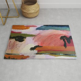 Landscape at Dusk Abstract by Rosalie Street Rug