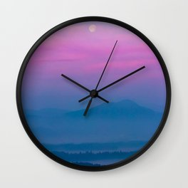 Bright clouds and moon at sunrise Wall Clock