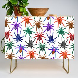 Spiders Colorful Halloween Tarantulas Pattern Credenza